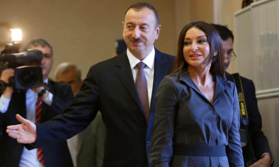 Azerbaijan President Ilham Aliyev and his wife Mehriban