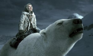 Dakota Blue Richards straddles a polar bear in a still from the film His Dark Materials: The Golden Compass (2007).