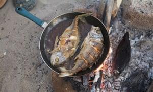 Frying fresh fish