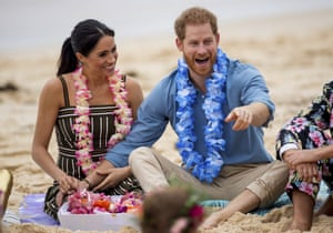 Harry and Meghan join a mental health community group on Sydney's Bondi Beach in 2018. The couple are expected to set up a charitable foundation in America.