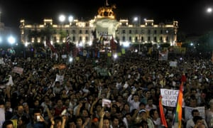 Protesters march against Peruvian presidential candidate Keiko Fujimori in Lima