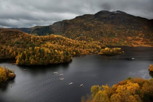 The eight-mile-long Loch Katrine in the Trossachs was once the fictional setting of Sir Walter Scott's poem The Lady of the Lake. This weekend it hosted the Scottish Coastal Rowing Association's last races of the year