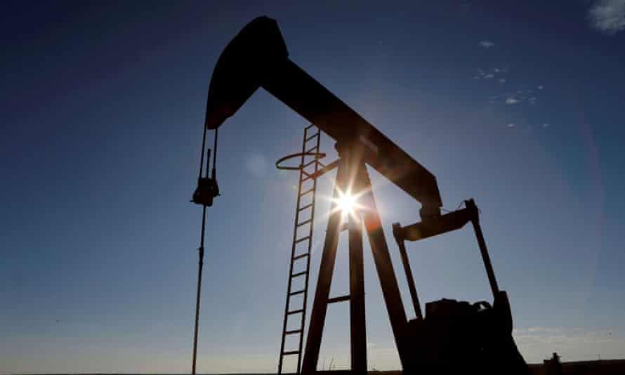A crude oil pump jack
