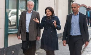 Jeremy Corbyn on a visit to Bristol last year with Thangam Debbonaire and Labour mayoral candidate Marvin Rees (now mayor).