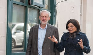 Labour's Bristol West MP, Thangam Debbonaire, with Jeremy Corbyn in Bristol.