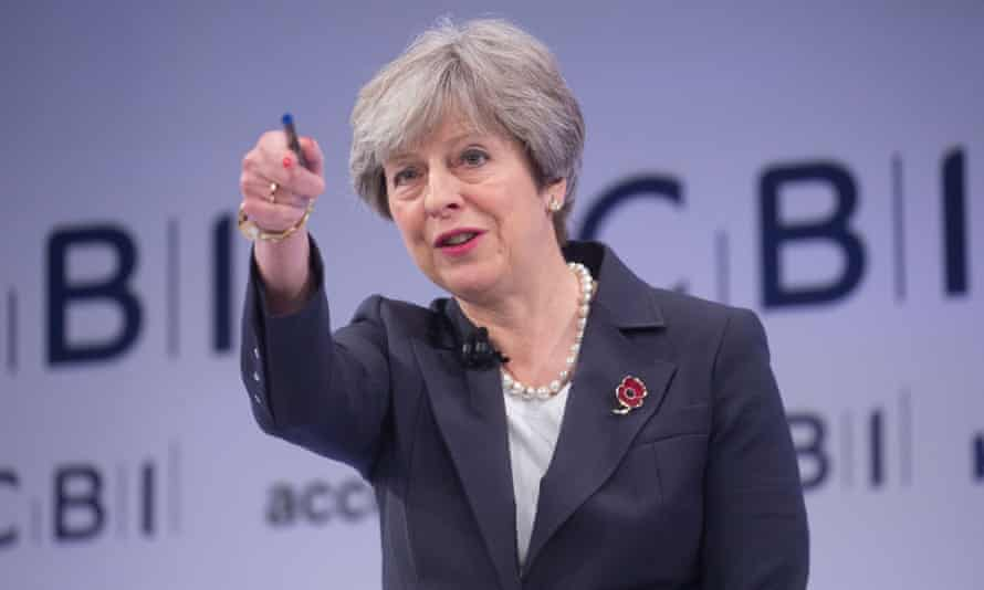 Theresa May speaks at the CBI conference in London