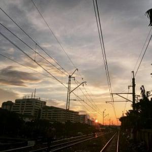 A sunset in Kampung Bandan in northern Jakarta.