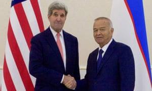John Kerry shakes hand's with Islam Karimov