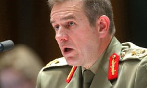 Major General Andrew Bottrell gives evidence at a Senate hearing on Monday.