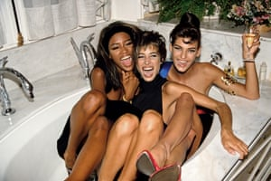Naomi Campbell in a bathtub with Christy Turlington and Linda Evangelista at the Ritz, Paris, in 1990