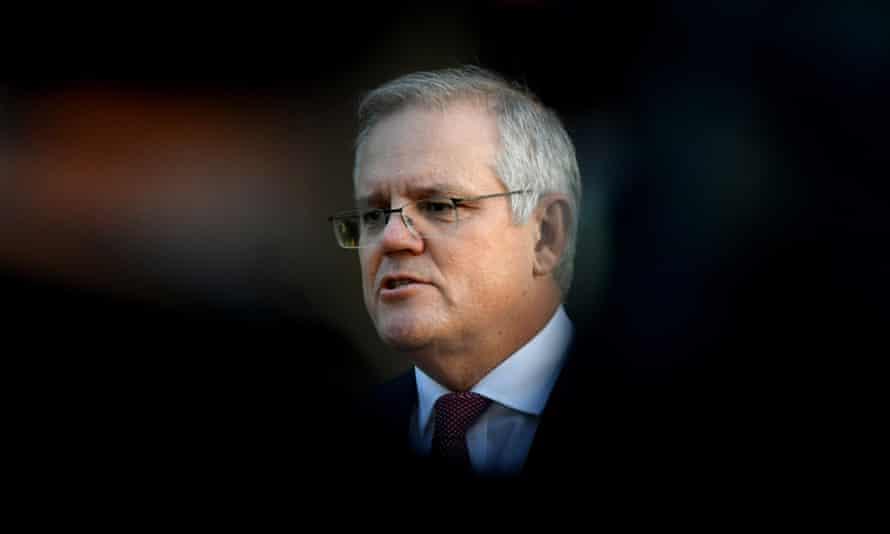 Australian prime minister Scott Morrison speaks to the media at Kirribilli House