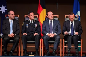 1 July 2015: New uniforms, a new leader and a new name ... but same old silence. The newly sworn commissioner of Australian Border Force, Roman Quaedvlieg (second left), is pictured with Abbott (right) at a ceremony in the Great Hall of Parliament House in Canberra to mark the birth of the new force. The agency merges the duties of the old Department of Customs and Immigration and takes responsibility for Operation Sovereign Borders. The new commissioner said after the launch: 'I don't intend to stray from the current position in relation to Operation Sovereign Borders.'