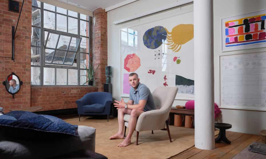 Russell Tovey in his London flat.