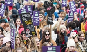 Women in London take part in a global protest against sexual violence and economic discrimination in 2019