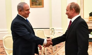 Benjamin Netanyahu with Vladimir Putin at their Moscow meeting on 11 July. The Israeli leader wants Russia's help in keeping Iran forces at bay.