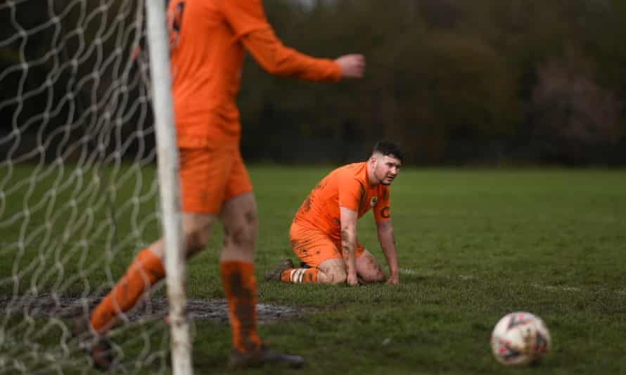 Sunday league football between Syston Brookside and Shepshed Oaks in Leicester in March.