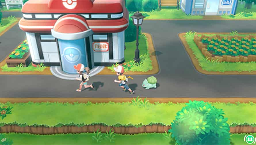 Promotional image of Pokemon Let's Go demonstrating cooperative gameplay