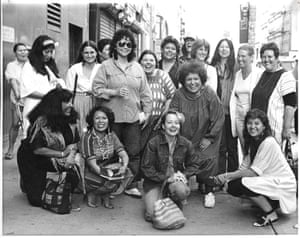 Artists from the exhibition, Women of Sweetgrass, Cedar and Sage, friends and community members outside the American Indian Community House Gallery, 1985