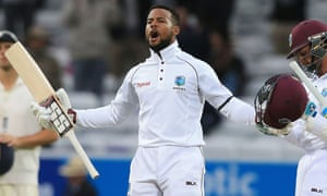 The West Indies' Shai Hope celebrates their win.
