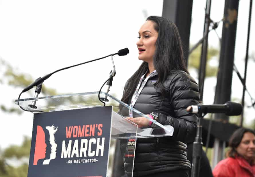 Carmen Perez, one of four co-founders of the Women's March, speaks onstage during the Washington protest.