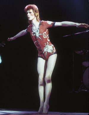 "David Bowie performing as Ziggy Stardust at the Hammersmith Odeon, London, 1973, in a ""woodland creatures"" costume designed by Kansai Yamamoto."