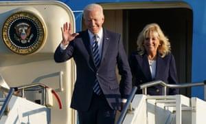 US president Joe Biden and First Lady Jill Biden arrive on Air Force One at RAF Mildenhall in Suffolk.