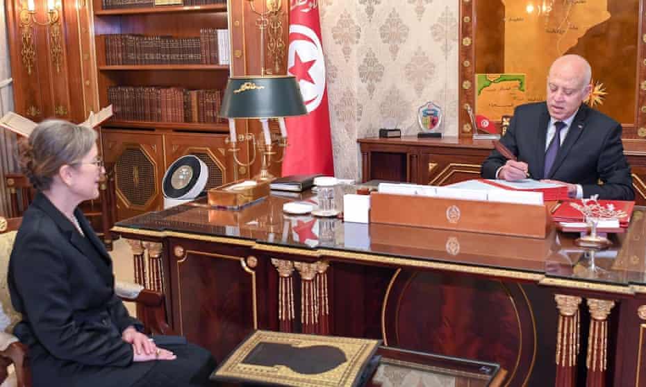 Tunisian president, Kais Saied, and the prime minister, Najla Bouden.