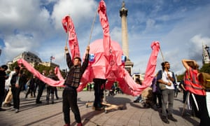Extinction Rebellion protest in Trafalgar Square, London