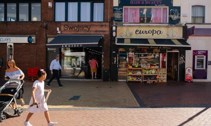 Shops on the high street in the Thames estuary town of Grays