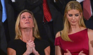 Carryn Owens, the wife of Navy Seal William Ryan Owens, with Ivanka Trump during the president's address to Congress.