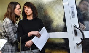 Russia's independent Dozhd channel producer Daria Zhuk and BBC journalist Farida Rustamova, who made the allegations against Leonid Slutsky, at the Duma's ethics commission meeting.
