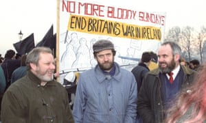 Corbyn with Jerry MacLochlainn (L) and Francie Molloy of Sinn Féin during a march in 1992 to mark 20 years since Bloody Sunday.