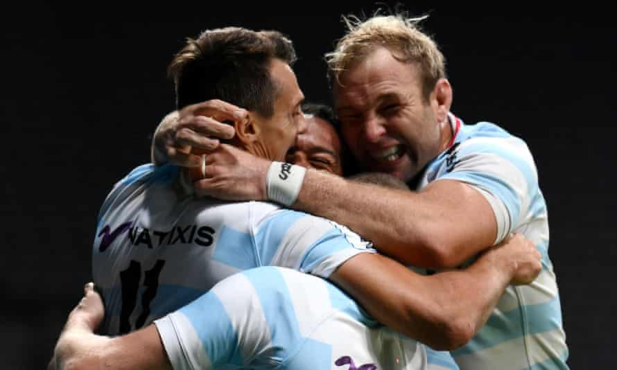 Racing's Juan Imhoff celebrates scoring his crucial late try to beat Saracens in their Champions Cup semi-final
