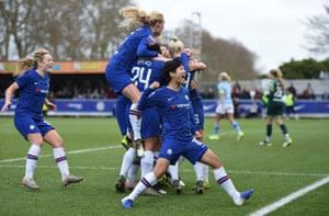 Ji So-Yun of Chelsea celebrates after teammate Maren Mjelde scores their team's second goal.