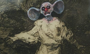 A cartoon face drawn by Jake and Dinos Chapman entitled Insult to Injury, which is drawn over etchings by Francisco de Goya.