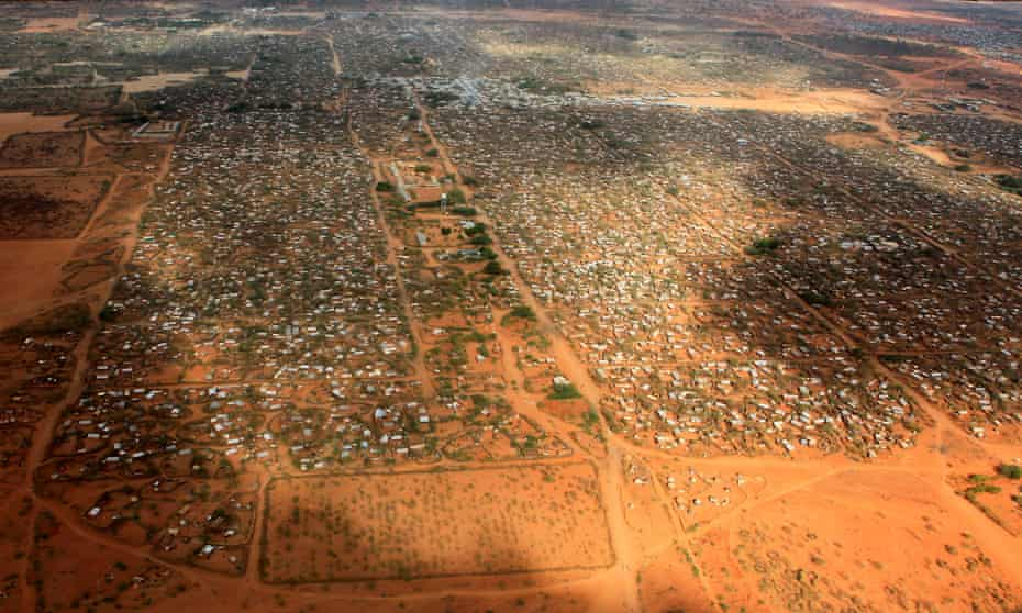 An aerial view of the Dagahaley camp, part of a sprawling urban slum in the middle of the inhospitable Kenyan desert.