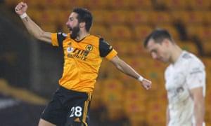 Wolverhampton Wanderers' Joao Moutinho celebrates scoring his team's second goal.