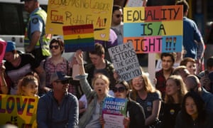 Supporters of same sex marriage in Sydney earlier this month.