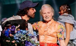 Vivienne Westwood and Andreas Kronthaler at Paris fashion week last month.