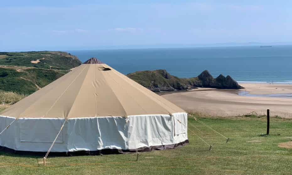 Three Cliffs Bay campsite, on the Gower peninsula near Swansea.