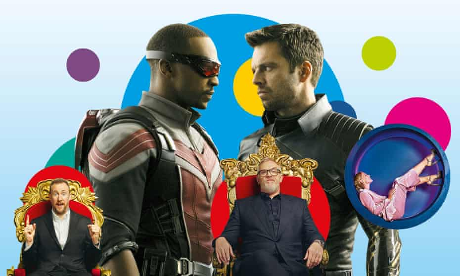From left: Taskmaster; The Falcon and the Snowman; and The Circle