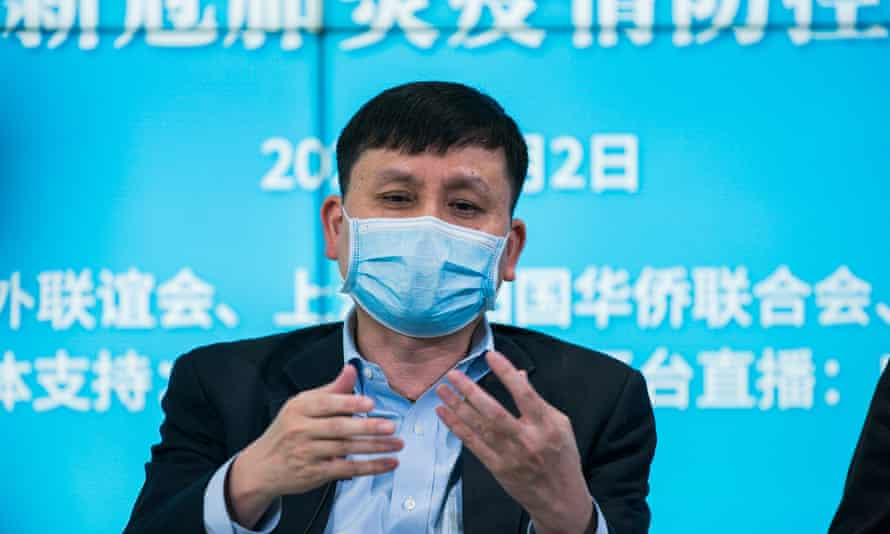 Zhang Wenhong, head of Shanghai COVID-19 Medical Treatment Expert Team talks during a live video streaming webcast about prevention of COVID-19