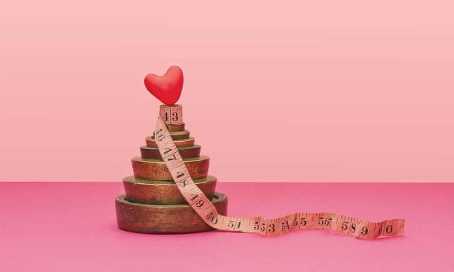 Tape measure round weights with a heart on top