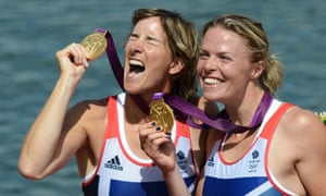 Katherine Grainger and Anna Watkins with their gold medals for the women's double sculls at the London 2012 Olympic Games.