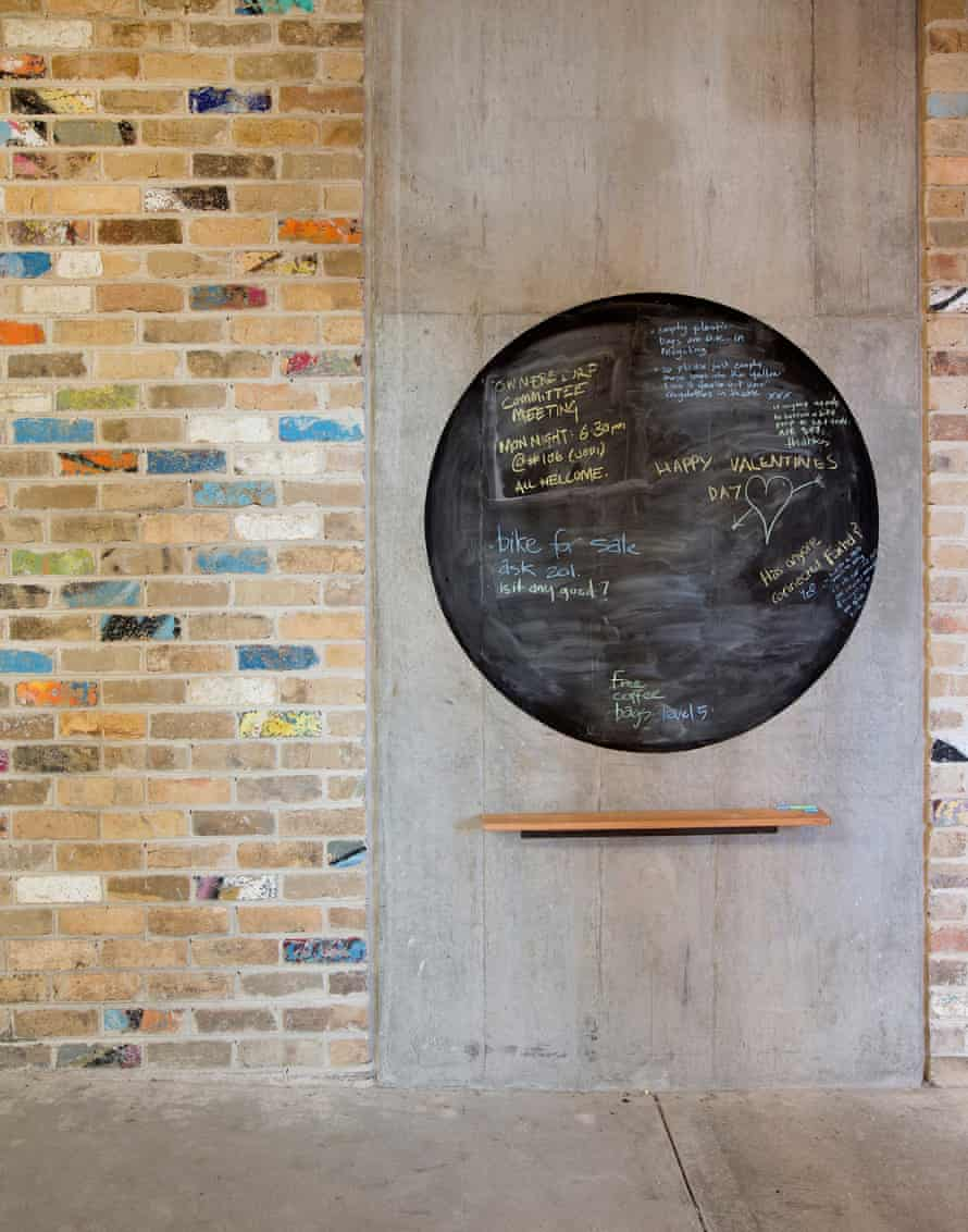 The communal noticeboard in The Commons development in Melbourne.