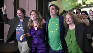 Sarah Wiener (second left) celebrates with fellow members of the Austrian Green party on Sunday.