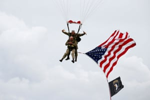 U.S. World War II paratrooper veteran Tom Rice, 97 years-old who served with the 101st Airbone, jumps during a commemorative parachute jump over Carentan on the Normandy coast ahead of the 75th D-Day anniversary, France, June 5, 2019.
