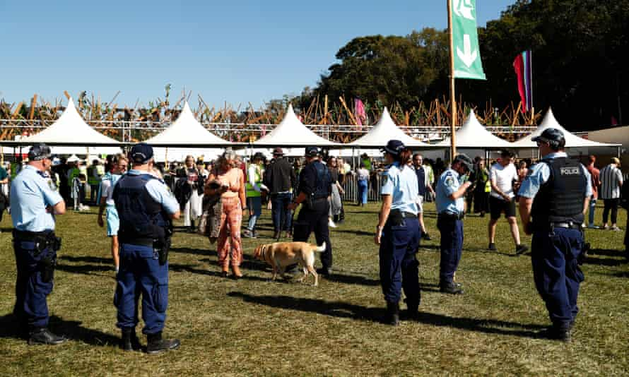 Police and a sniffer dog at Splendour in the Grass