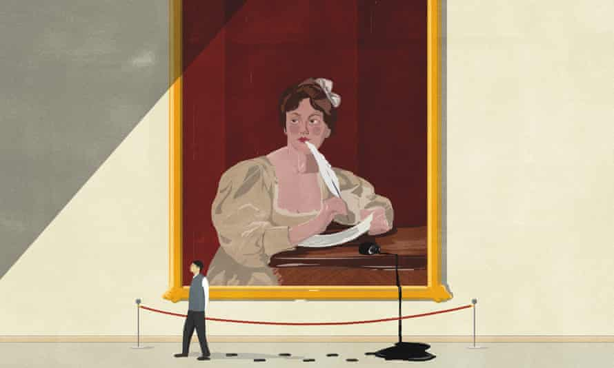 Illustration of painting of a woman who is writing with a quill pen and has knocked over bottle of ink which is pouring on to the floor of the art gallery and a man is walking in it