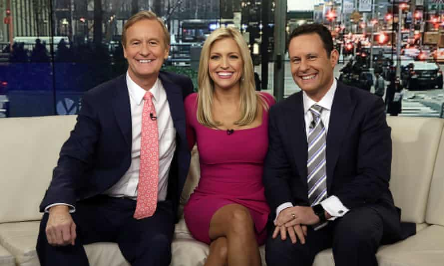After weeks of downplaying the coronavirus outbreak and continuing to broadcast from close quarters on a couch, the hosts of the Fox & Friends on Tuesday broadcast on a split screen instead.